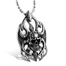 Black Silver Stainless Steel Tribal Flame Gothic Skull Pendant Necklace w Chain