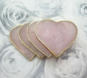 Gold Dipped Rose Quartz Natural Crystal Heart Gemstone Coasters Boho Homeware