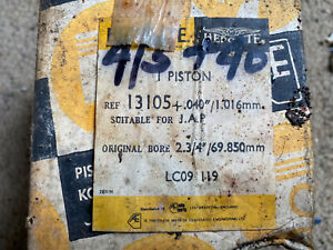J.A.P N.o.s New Old Stock Hepolite Piston +40 13105 Rings Barn Find Project #2