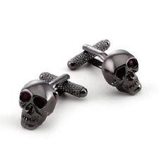 Onyx-Art CK904 Skull Shiny Design Metallic Cufflinks plus FREE Premier Life Pen