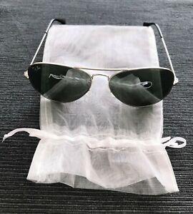 orig. Ray Ban Aviator Pilotenbrille Metall silber verspiegelt grün