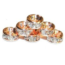 CL311p Crystal Rhinestone 8mm Copper Rondelle Metal Spacer Beads 50/pkg