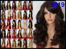 Black Plum Long Curly Womens Real Natural Party Costume Full Ladies Wig M19