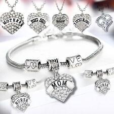 Clear Rhinestone Heart Pendant Charm Bracelet Chain Necklace Keyring Gifts Women