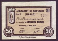 BILLETE LOCAL - MONTMANY (FIGARÓ) - 50 CTS  AÑO 1937. SERIE A. EBC