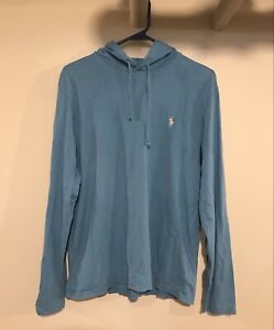 polo ralph lauren pullover hooded long sleeve blue large