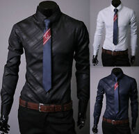 Luxury Men's Stylish Formal Dress Shirts Slim Fit Long Sleeve Casual Shirts Tops