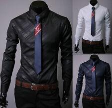 lusso da uomo manica lunga Casual camicia per Abito formale SLIM LUCIDO T maglia