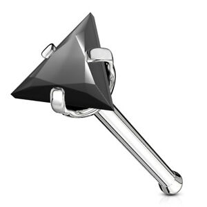 1pc Triangle CZ Gem Top 20g Nose Ring Stud Bone 316L Surgical Steel