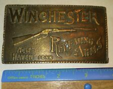 Vtg Winchester Repeating Arms Brass Belt Buckle New Haven Conn