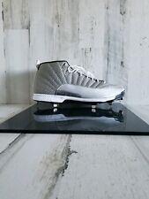 Nike Jordan 12 XII Retro Silver Metal Baseball Cleats 854567-100 Men's Size 16