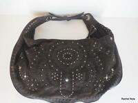 Donald Pliner Handbag Purse Hobo Shoulder Bag Large Brown Suede Stud Embroidered