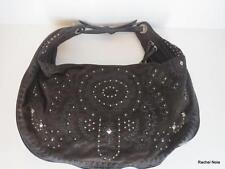 DONALD PLINER COUTURE L Brown Suede Leather Embroidered Stud Hobo Purse Handbag