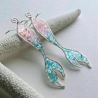 Unique Mermaid Tail Pendant Hook Earrings For Women Jewelry Party Wedding Decor