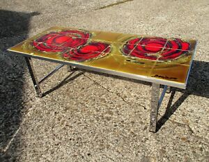 Mid Century Coffee table Italian Art Design Ceramic Signed by Denisco Brutalist