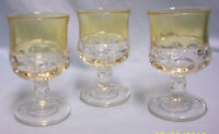 GLASSES Vintage (3) CORDIAL Indiana Glass Kings CrownThumbprint Yellow Flashing