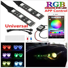 Universal RGB Demon Devil Eyes LED Wireless App Control For Headlight Retrofit