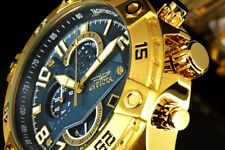 26095 Invicta S1 Rally Blue Dial 48MM Chronograph 18k Gold Plated SS Band Watch