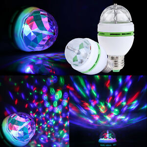 RGB LED Crystal Ball Rotating Stage Light Bulbs E27 3W Disco Party Xmas Lamps PP