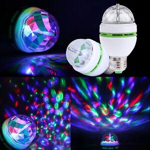 RGB LED Crystal Ball Rotating Stage Light Bulbs E27 3W Disco Party Xmas Lamps