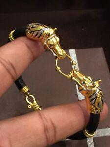 Vintage Heavy Unisex Dubai Handmade Horse Bracelet In Fine Hallmark 22Karat Gold