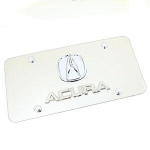 Acura Dual Logo Badge License Plate (Chrome)