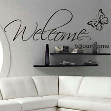 Removable Vinyl Wall Stickers Welcome to our home with Butterfly Quote Decal DIY