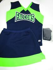 "New Falcons Cheerleader Uniform Outfit Costume Adult M 36"" Top Skirt Briefs 3 Pc"