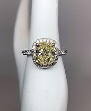 4.40ct GIA Fancy Yellow VS2 Cushion Cut Diamond Platinum Halo Engagement Ring