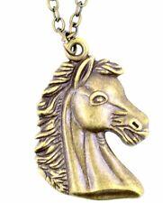 Collana con ciondolo cavallo / pony color bronzo antico stile vintage