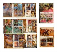 Paintings Art    Edgar Degas   8 SOUVENIR SHEETS MNH UNPERFORATED