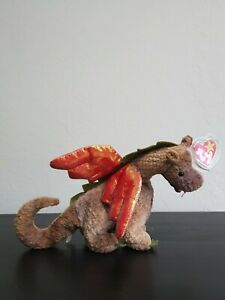 Vintage 1998 TY Beanie Babies Collection Scorch Dragon Tag Error Stamp PE Pellet