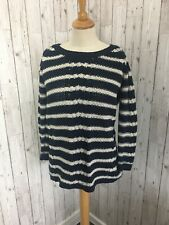 OASIS Navy Blue White Stripe Cable Knit Casual Jumper SMALL