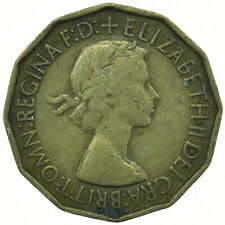 1953 BRASS THREEPENCE ELIZABETH II BEAUTIFUL COLLECTIBLE  #WT31609