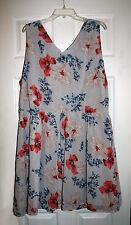 BB Dakota Womens 20 Fit & Flare Dress Sleeveless Gray Floral Print Chiffon NWT