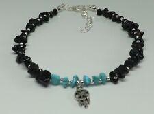 Black Onyx Turquoise Gemstone Chips Bohemian Dreamcatcher Charm Beach Anklet