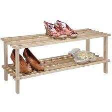 Schuhregal aus Holz mit zwei Böden Shoe Rack für 6 Paar Schuhe Schuh-Regal