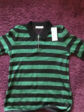 Sandro vert tendre à Rayures Maille Dos T-shirt: BNWT... Taille 3... RRP £ 165