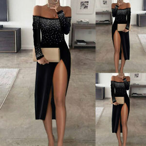 Womens Off Shoulder High Slit Dress Bling Rhinestone Cocktail Party Ball Gown