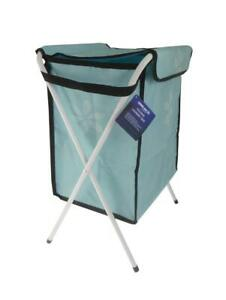 Folding Laundry Clothes Wash Basket - White Metal Frame and Removable Fabric Bag