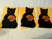 Halloween Hallmark 3 Black Cats greeting cards  die cut new vintage USA