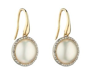 Yellow Gold Mabe Pearl & Diamond Earrings , jewellery