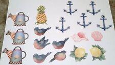 HUGE Lot of 18 WALLIES ~BLUE BIRDS, LEMONS, ANCHORS PINEAPPLE ~Wallpaper Cutouts