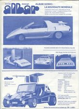 N°9774 / prospectus ALBAR SONIC   Geneve 1982 ,super Kafer ,Jet