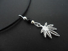 "A LADIES BLACK LEATHER CORD 13 - 14"" CHOKER WEED LEAF & CRYSTAL NECKLACE. NEW."