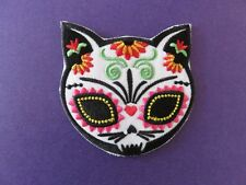 Cute Goth Kitty Cat Calavera Sugar Skull DAY OF THE DEAD applique IRON ON patch
