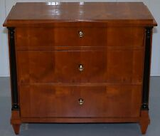 SWEDISH BIEDERMEIER CHERRY WOOD CHEST OF DRAWERS CIRCA 1850 EBONISED PILLARS