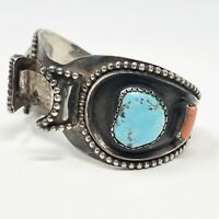 Vintage Natural Turquoise Coral Watch Cuff Bracelet Sterling Silver Navajo 48g