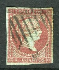 SPAIN;  1855 Wmk. Hoops classic Isabella Imperf issue used 4c. value
