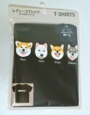 Women's Black T-shirts Japanese Dog Face Akita Kishu Shiba Shikoku Kai *A437